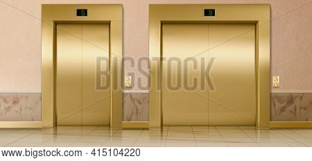 Gold Lift Doors, Service And Cargo Closed Elevators. Building Hall Interior With Gold Gates, Buttons