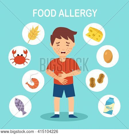 Boy Kids Having Food Allergy Symptom To Products Like Seafood, Gluten, Egg, Peanut And Milk In Flat