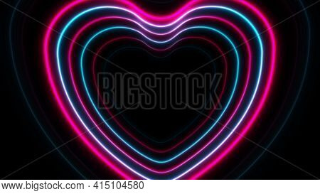 Blue purple neon glowing laser hearts abstract background