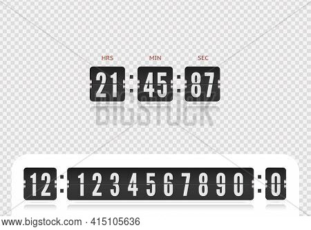 Retro Design Score Board Clock Template. Vector Modern Ui Design Of Old Time Meter With Numbers. Sco
