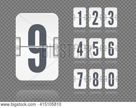 Vector Floating Flip Scoreboard Template With Numbers And Reflections For White Countdown Timer Or C