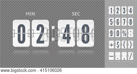 Analog Countdown Font. Flip Numbers Font White Time Counter Information Page. Vintage Symbols Time M