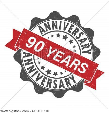 Stamp Impression With The Inscription 90 Years Anniversary. Old Worn Vintage Stamp. Stock Vector Ill