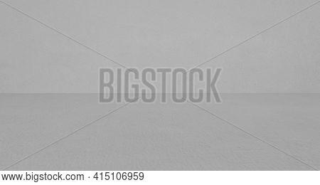 Empty Grey Concrete Room And Floor Background, Perspective Grey Gradient Concrete Room For Interior