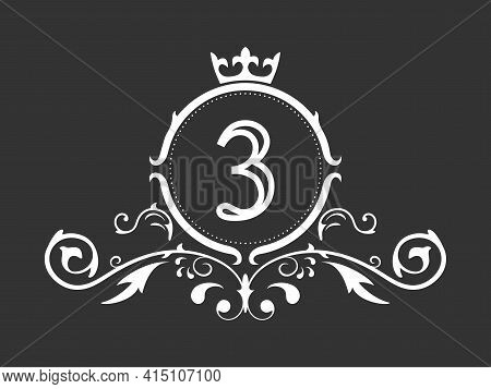 Stylized Number 3. Ornament And Crown Monogram Template For Business Cards, Logos, Emblems And Heral