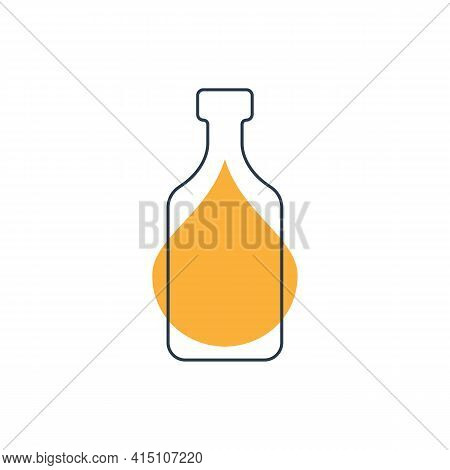 Modern Abstract Illustration With Bottle Rum With Color Blob. Linear Outline Sign. Logo Icon On Whit
