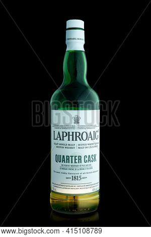 TORONTO, CANADA – FEBRUARY 09. 2021: The Laphroaig distillery was established in 1815, world known as an Islay single malt Scotch whisky distillery.