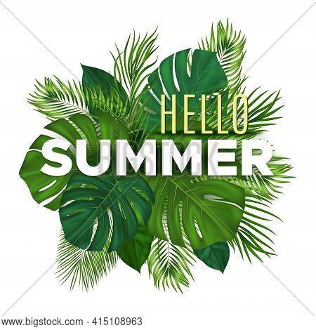 Summer Tropical Banner With Green Palm Leaves On White Background. Vector Plant Background For Leafl