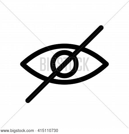 Hide Or Crossed Out Eye Thin Line Icon In Black. Hidden Password Entry Mode. Forbidden To Look Conce