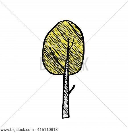 Black Outline Hand Drawing Vector Illustration Of A Deciduous Birch Tree With Yellow Scribble Leaves