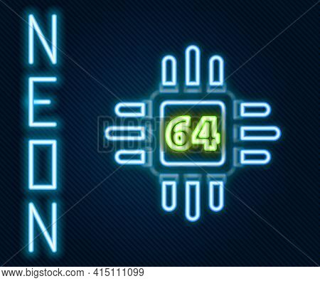Glowing Neon Line Computer Processor With Microcircuits Cpu Icon Isolated On Black Background. Chip