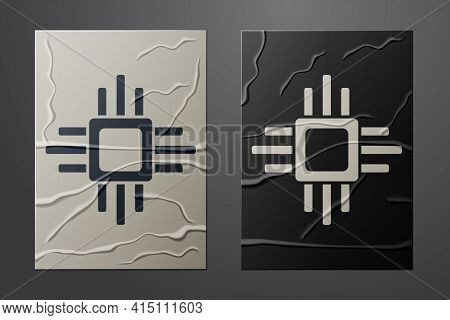 White Computer Processor With Microcircuits Cpu Icon Isolated On Crumpled Paper Background. Chip Or
