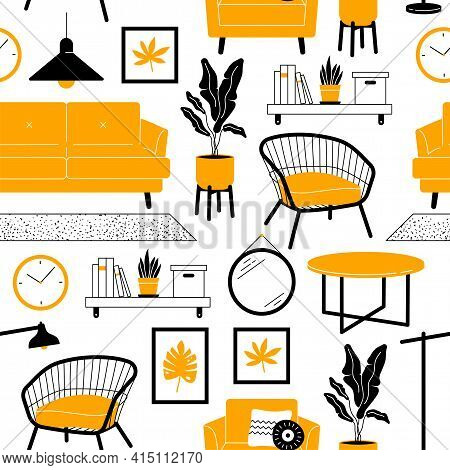 Living Room Furniture Seamless Pattern. Sofa, Armchair, Houseplants, Objects Decoration In Simple Tr