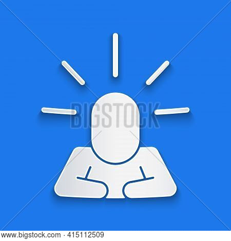 Paper Cut Depression And Frustration Icon Isolated On Blue Background. Man In Depressive State Of Mi