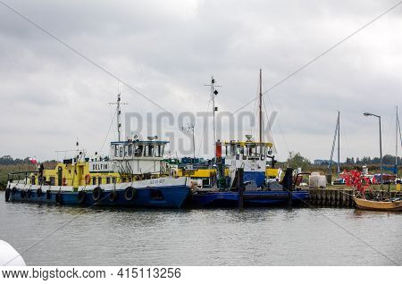 Katy Rybackie, Poland - Sept 4, 2020:  Fishing Boats In Port On The Vistula Lagoon In Katy Rybackie
