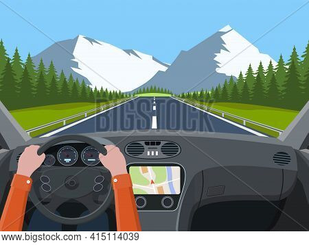 View Of The Road From The Car Interior. Vehicle Salon, Inside Car Driver . Driving Simulator .hands