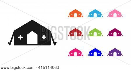 Black Military Medical Tent Providing First Aid To A Patient Icon Isolated On White Background. Medi