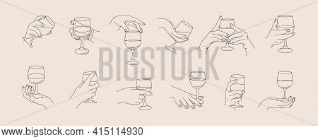 Set Of Womans Hands Holding A Wineglass Of In Minimal Trendy Style . Vector Line Icons Of Female Han
