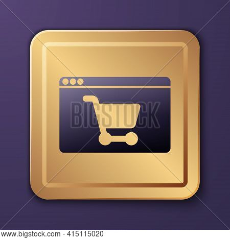 Purple Online Shopping On Screen Icon Isolated On Purple Background. Concept E-commerce, E-business,