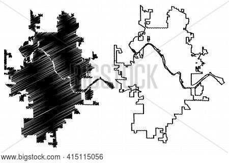 Cedar Rapids City, Iowa (united States Cities, United States Of America, Usa City) Map Vector Illust