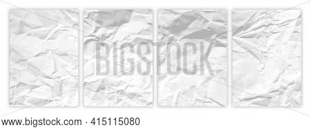 Set Of Wrinkled White Paper In A4 Format. Crumpled Empty Sheets Of Paper With Shadow For Posters And