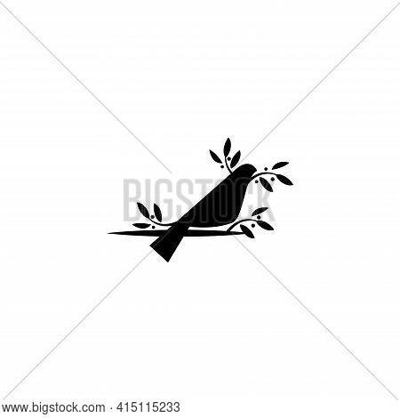 Logo Design Of A Bird Perching On A Leaf Branch
