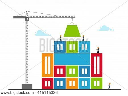 Tower Crane Made Of Colored Blocks Builds City. Concept Of Building