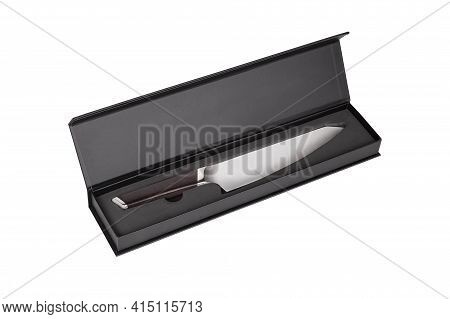 Carving Knife With Wooden Handle In Black Box Isolated On White Background. Knife For Carving Cooked