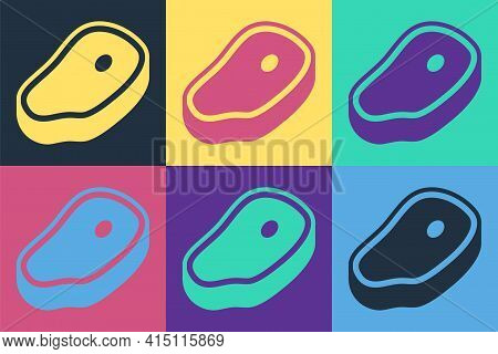 Pop Art Steak Meat Icon Isolated On Color Background. Vector