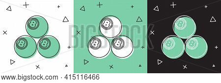 Set Billiard Pool Snooker Ball With Number 8 Icon Isolated On White And Green, Black Background. Vec