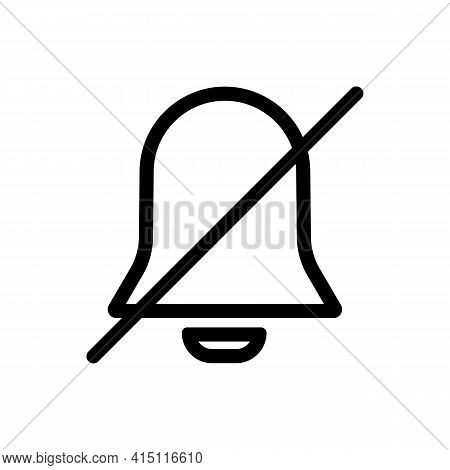 Silent Mode Or Notification Bell Thin Line Icon In Black. Trendy Flat Style Isolated Symbol, Can Be