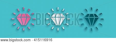 Paper Cut Diamond Icon Isolated On Blue Background. Jewelry Symbol. Gem Stone. Paper Art Style. Vect