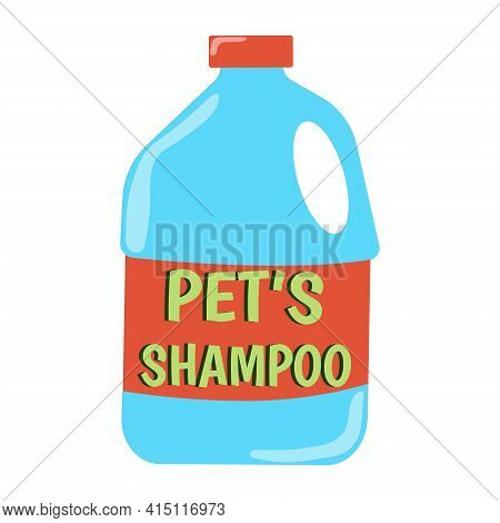 Shampoo For Pets. Large Plastic Bottle Labeled Pet Shampoo. Accessory For Pets. Animal Care Item Iso