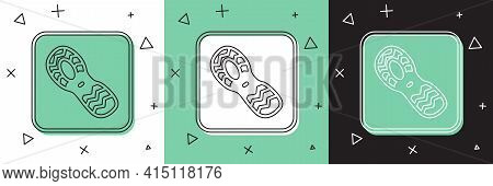 Set Human Footprints Shoes Icon Isolated On White And Green, Black Background. Shoes Sole. Vector