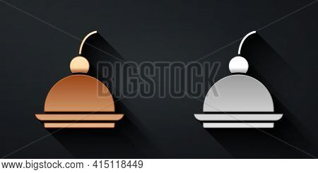 Gold And Silver Cherry Cheesecake Slice With Fruit Topping Icon Isolated On Black Background. Long S