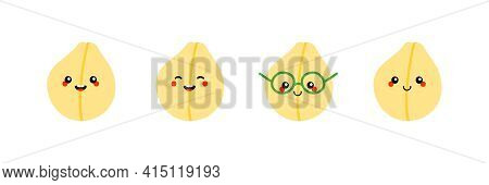 Set, Collection Of Cute Smiling Cartoon Style Chickpeas, Chick Pea Seeds Characters For Healthy Vega