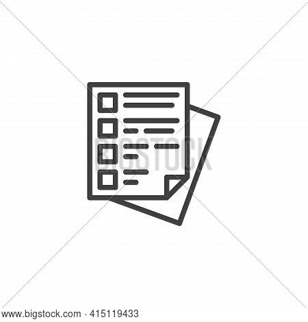 Questionnaire Checklist Line Icon. Linear Style Sign For Mobile Concept And Web Design. Questionnair