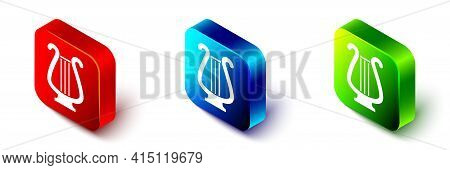 Isometric Ancient Greek Lyre Icon Isolated On White Background. Classical Music Instrument, Orhestra
