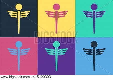 Pop Art Caduceus Snake Medical Symbol Icon Isolated On Color Background. Medicine And Health Care. E