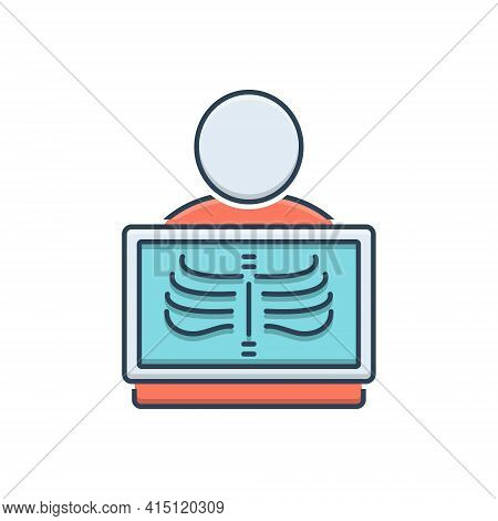 Color Illustration Icon For Radiology Diagnostic X-ray Radiologist Health-care