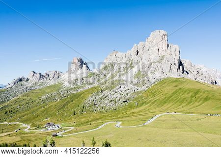 Passo Giau, Italy - August 23, 2016:view Of Mount Nuvolao The Heart Of The Belluno Dolomites During
