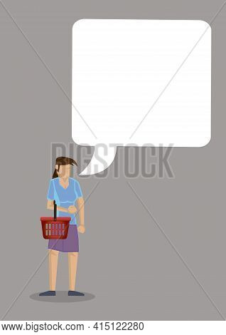 Housewife With A Giant Empty Speech Bubble. Concept Of Communication And Housekeeping. Isolated Vect