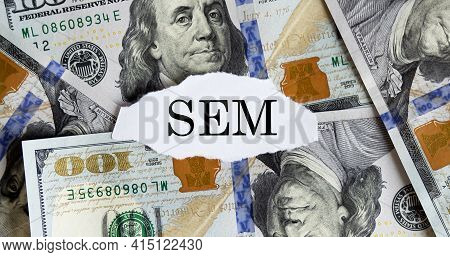 Usa Dollar With Finance Text Sem On Torn Piece Paper, Business