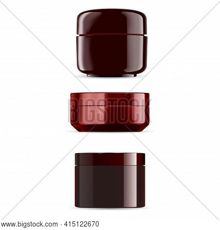 Brown Cream Jar. Cosmetic Cream Gloss Package, 3d Container Mockup. Round Bottle Blank, Premium Beau