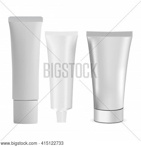 Cosmetic Cream Tube Mockup. White Plastic Container For Shampoo, Cream, Toothpaste. Dental Product B