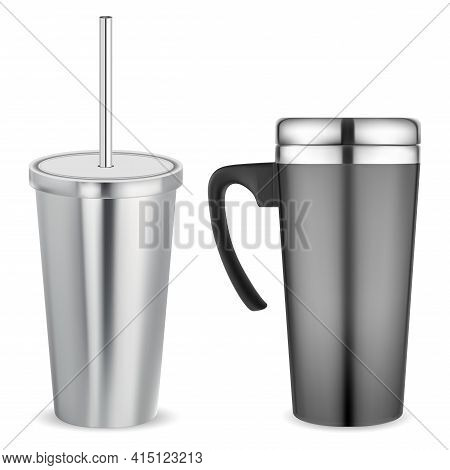 Thermo Mug, Metal Travel Cup. Stainless Cup Vacuum Thermos, Insulated Template. Thermal Flask, Porta
