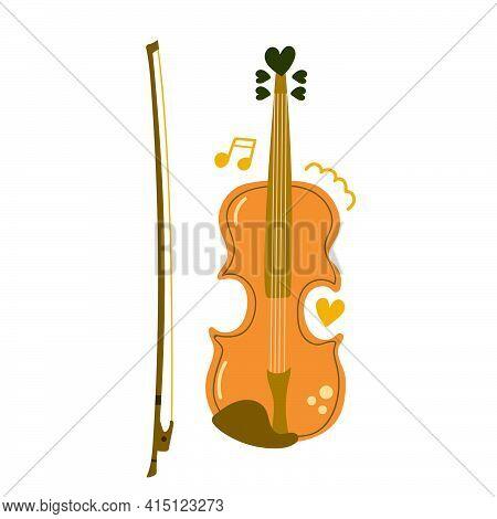 Hand Drawn Violin, Music Instrument. Love Music, Education Concept. Modern Flat Illustration.