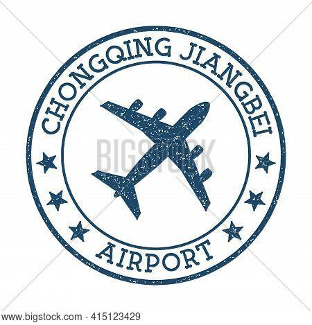 Chongqing Jiangbei Airport Logo. Airport Stamp Vector Illustration. Chongqing Aerodrome.