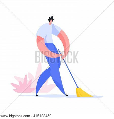 Man Sweeping Street Illustration. Male Character In White Shirt And Blue Pants With Whisk Is Cleanin