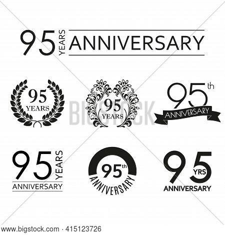 95 Years Anniversary Icon Set. 95th Anniversary Celebration Logo. Design Elements For Birthday, Invi